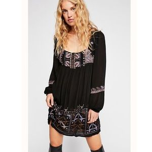 FREE PEOPLE | Black Rhiannon Embroidered Dress